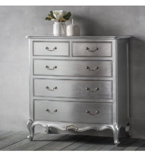 Chic 5 Drawer Chest in Silver